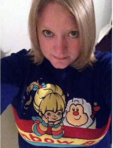 Jo wearing her Rainbow Brite Jumper 2015