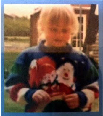 Jo wearing her Jumper as a kid